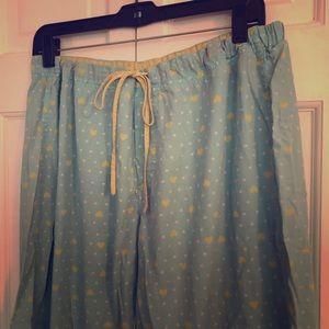 💛 GUC 💛 Cute Cropped PJ Pants Aqua w/Hearts XL